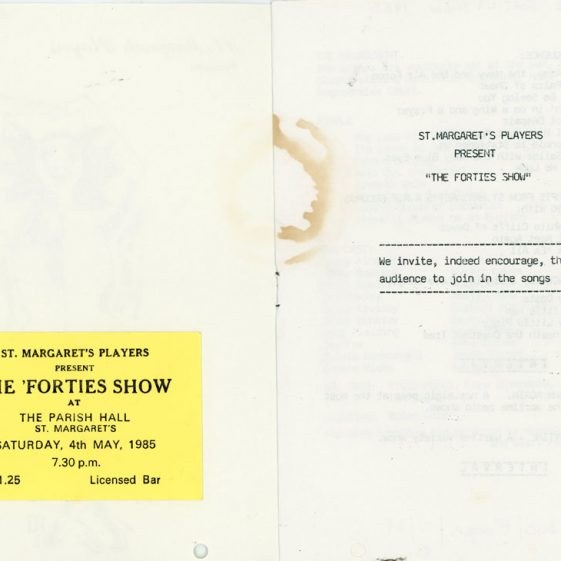 Programme of St Margaret's Players production 'The Forties Show'. 1985