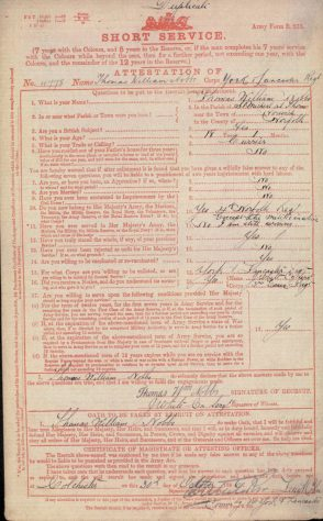 Short Service Attestation for Thomas William Nobbs. 30 October 1896
