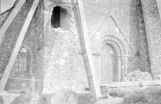 Large hole in the Church Tower Buttress - early 20th century