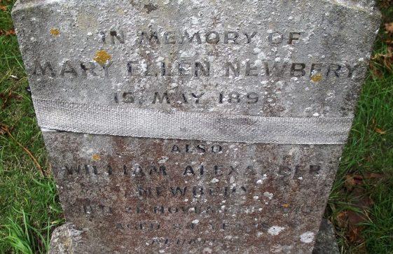 Gravestone of NEWBERY Mary Ellen 1965; NEWBERY Alexander 1975