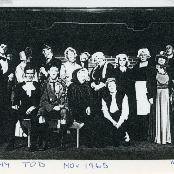 Cast of St Margaret's Players production, 'Sweeney Todd' 1965; a pantomime 1966; 'Champagne for Breakfast' 1968; unidentified play thought to be from 1966.