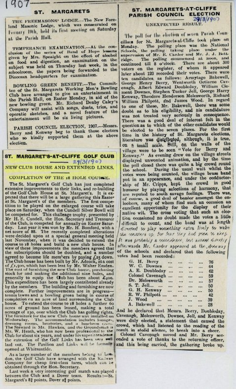 New Golf Club House and extended links at St Margaret's at Cliffe. 29 March 1907
