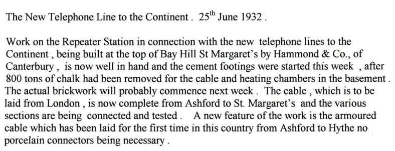 Note concerning work on Repeater Station, Bay Hill. 1932
