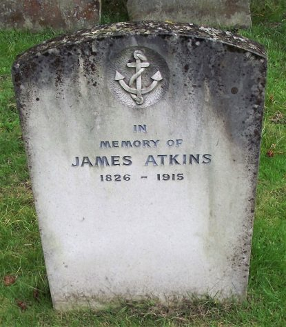 Gravestone of ATKINS Ann Elizabeth 1909; ATKINS James 1915