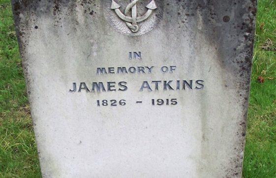 Gravestone of ATKINS Ann Elizabeth 1909; ATKINS James 1915