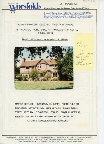 Sale particulars for The Vicarage, Well Lane.  July 1984