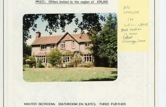 Sale particulars for The Old Vicarage, Well Lane.  July 1984