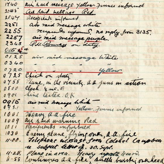 St Margaret's ARP (Air Raid Precautions) Log. Volume 2. 24 July 1940 - 2 November 1940. Pages 101-110