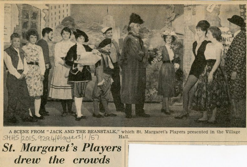 Press review and photograph of the St. Margaret's Players pantomime 'Jack and the Beanstalk'. Undated