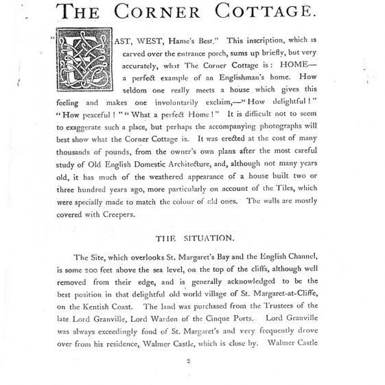 An article on 'The Corner Cottage' which stands at the end of Hotel Road. 1907