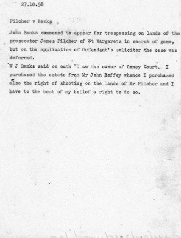 Account of the case for trespassing brought by Pilcher against Banks 27 October 1858
