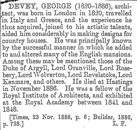 George Devey, owner of Granville Hotel 1883: a brief biography.