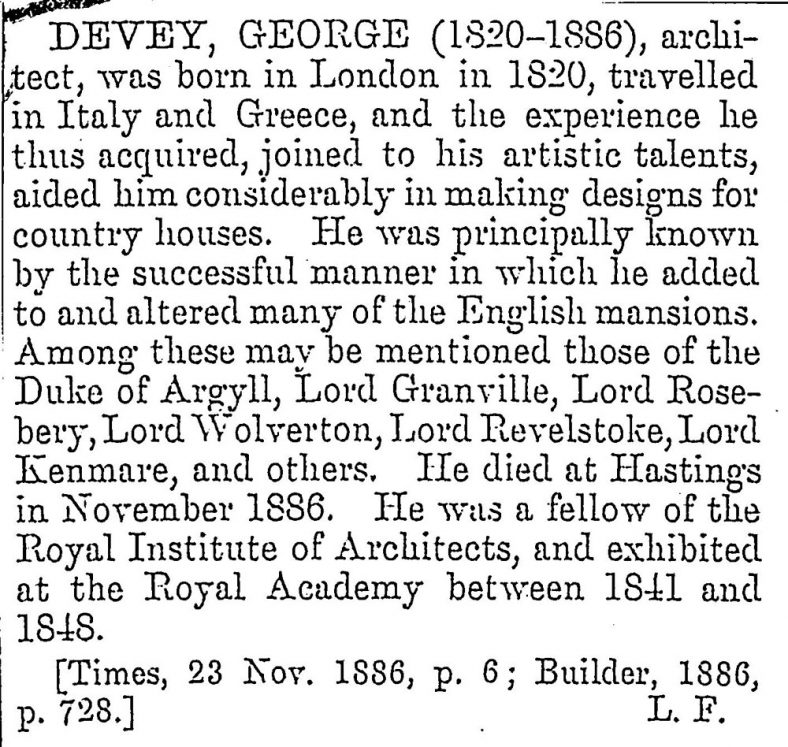 George Devey, owner of Granville Hotel 1883: a potted biography.