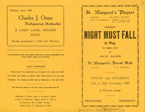 Programme of St Margaret's Players production 'Night Must Fall', 1960