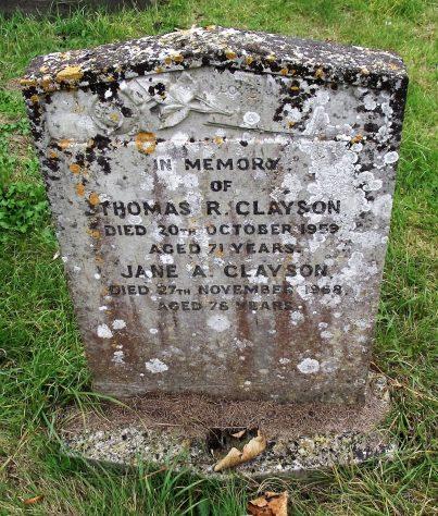 Gravestone of CLAYSON Thomas Robert 1959; CLAYSON Jane Alice 1968