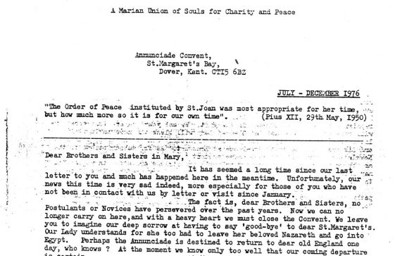 Last Newsletter from the Convent of the Annunciade, The Droveway. 1976