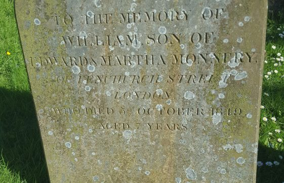 Gravestone of MONNERY William 1849