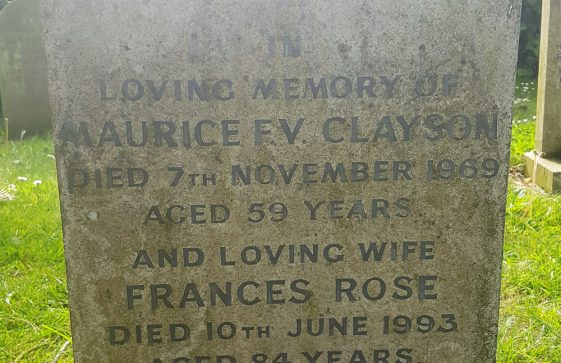 Gravestone of CLAYSON Maurice F V 1969; CLAYSON Frances Rose 1993