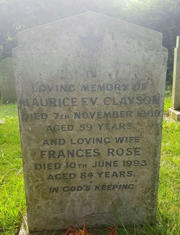 Gravestone of CLAYSON Maurice F V 1969; CLAYSON Frances Rose 1993 | Dawn Sedgwick