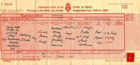 Birth Certificate of Anthony Charles Scarfe. 29 March 1941