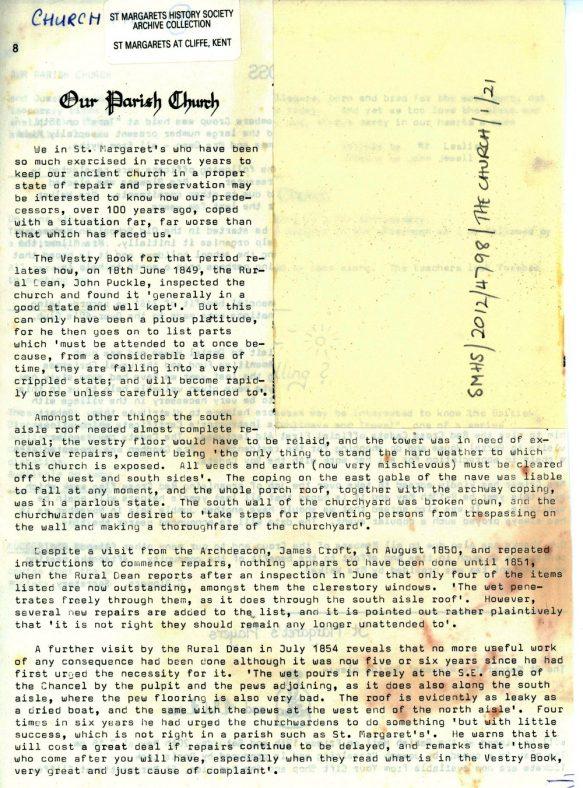 19th century neglect of the village church fabric, article from Parish Magazine. c.1960-70