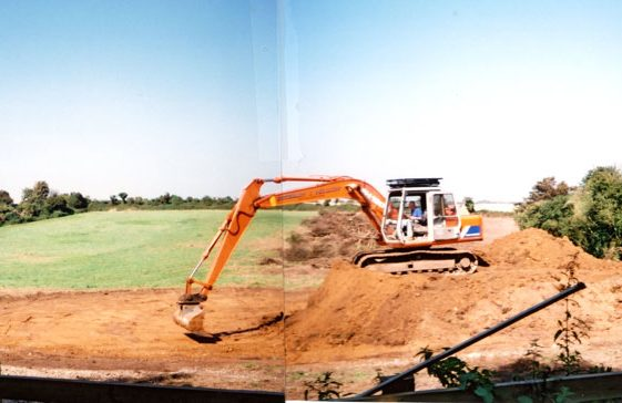 Clearance and levelling work underway in the field off Droveway Gardens. 2004