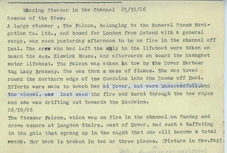 Cargo vessel The Falcon ablaze in the English Channel. 1926