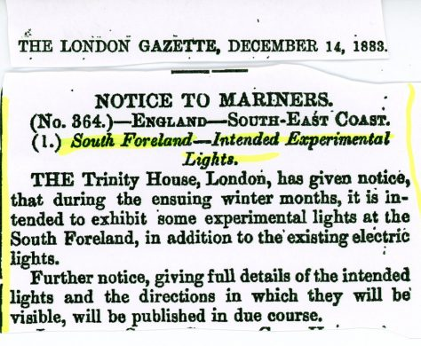 Notice to Mariners No 364 concerning experimental lights at South Foreland Lighthouse. The London Gazette December 14 1883.