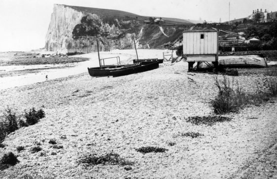 Boats on St Margaret's Bay beach. Undated but probably 1880/90