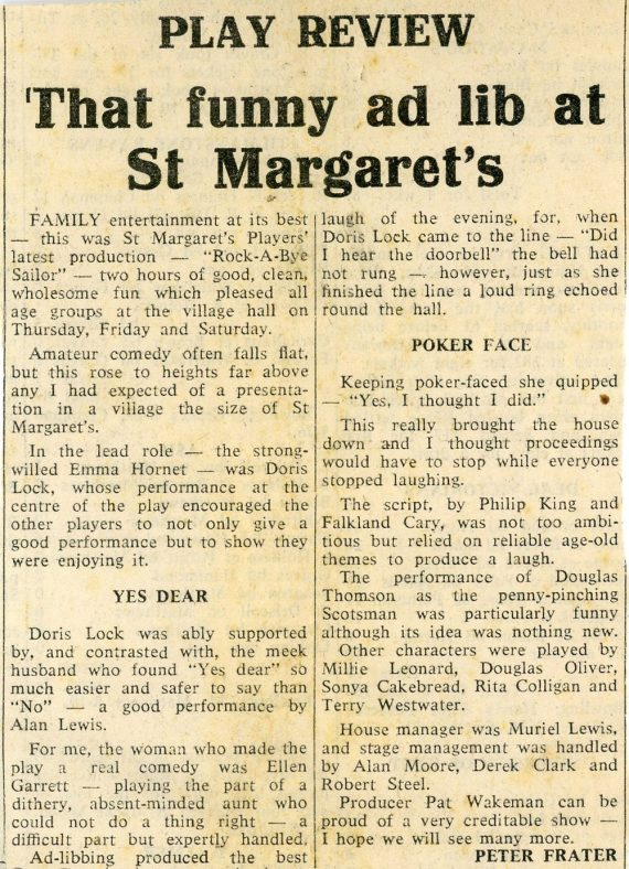 Press Review of the St. Margaret's Players  Production of 'Rock-a-Bye Sailor'.1971