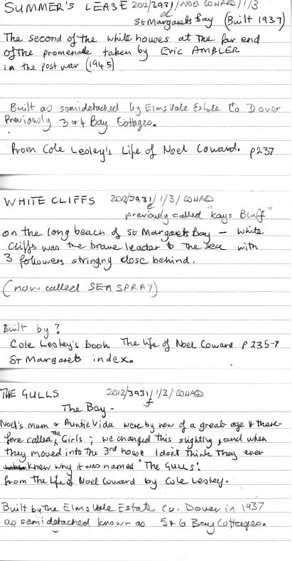 Notes about the houses built at East Cliff end of The Bay. 1937