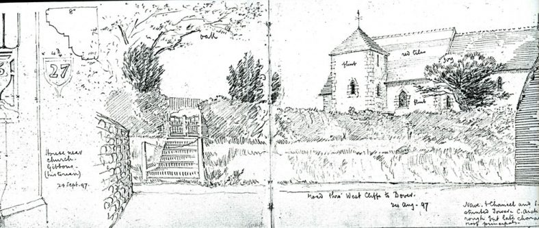 Drawing of St Peter's Church, Westcliffe and Wallett's Court. 1997