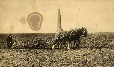 Ploughing in front of the Dover Patrol Memorial, Bockhill Farm. c1920s