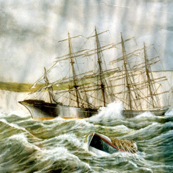 Preussen aground in Fan Bay. 1910; Painting 'Preussen' by A Whiting