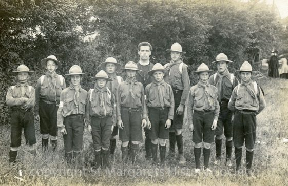 St Margaret's Scouts with Rev Moberly (who came to the village after 1909). Undated