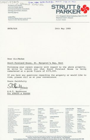 South Foreland House, Hotel Road, sale price adjustment. 1989