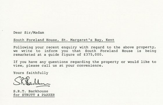 South Foreland House, Granville Road, sale price adjustment. 1989