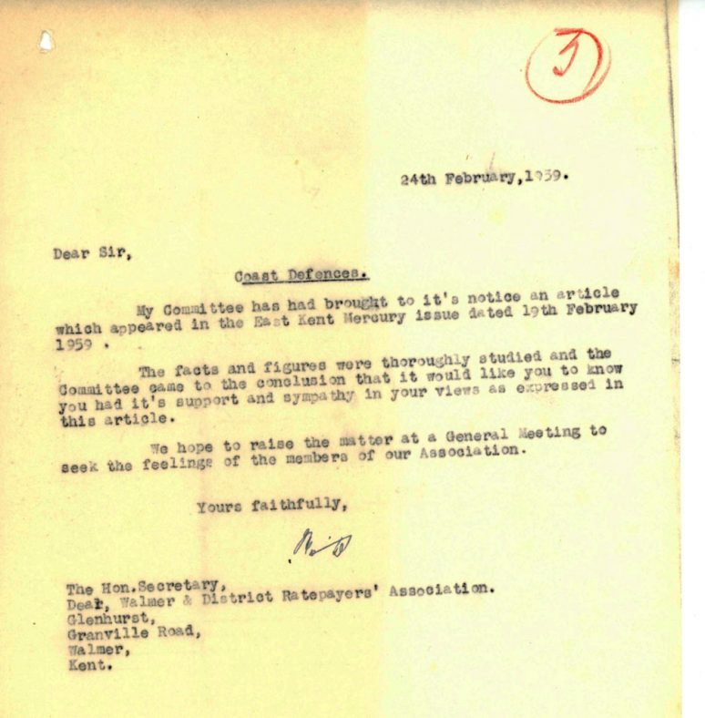 Letter from an Association expressing support re coastal defences. 1959