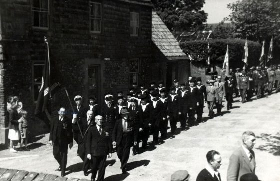 The Men's Section of the St Margaret's British Legion, marching towards the Dover Patrol Memorial. 1950s