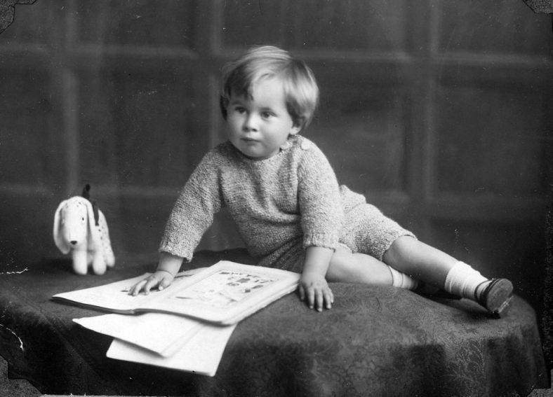 Studio portrait of a young boy.