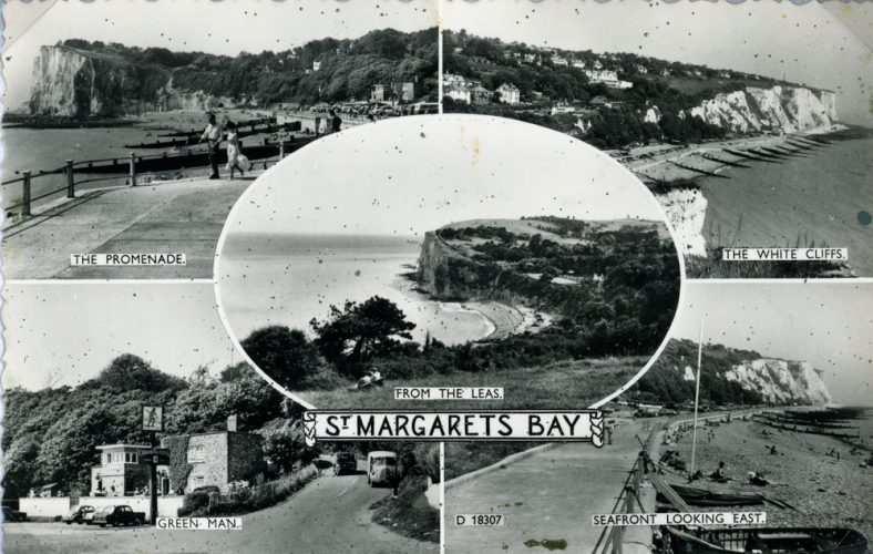 A multiple image postcard showing views in St Margaret's Bay post 1950
