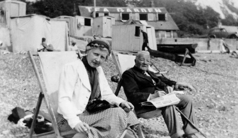 Gordon Denoon's father and sister, Muriel, on St Margaret's beach. 1936