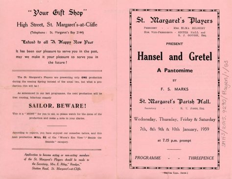 Programme of St Margaret's Players pantomime 'Hansel and Gretel'. 1959