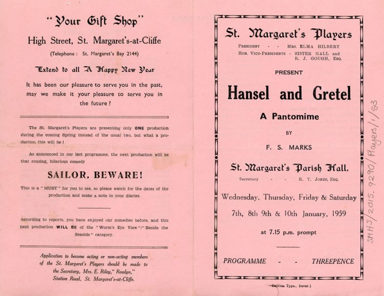 Programme for the St. Margaret's Players  pantomime 'Hansel and Gretel'. 1959