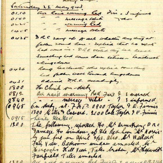 St Margaret's ARP (Air Raid Precautions) Log. Volume 7. 15 February 1943 - 25 October 1943. Pages 57-69