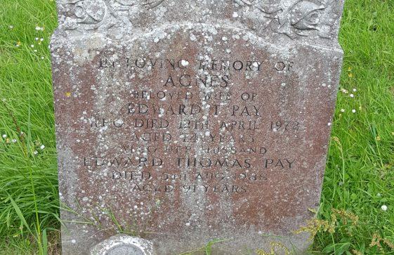 Gravestone of PAY Agnes 1972; PAY Edward Thomas 1988