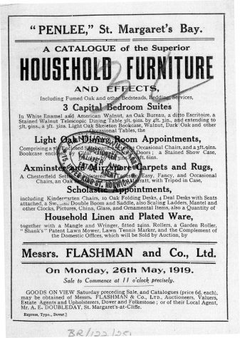 Auction Catalogue for items from the former Penlee School, The Droveway. 1919