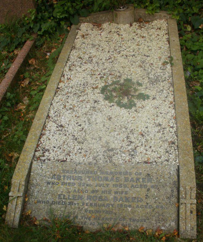 Gravestone of BAKER Arthur Thomas 1959; BAKER Ellen Rosa 1996 | Dawn Sedgwick