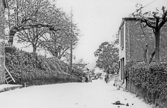 High Street, church steps on left cottages next to the Cliffe Tavern on right. c1920s