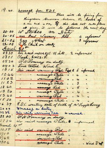 St Margaret's ARP (Air Raid Precautions) Log. Volume 4. 18 February 1941 - 25 September 1941. Pages 27-35